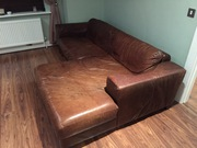 BROWN LEATHER SOFA FOR SALE !!!!!!